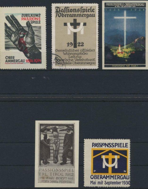 Vignette Reklame Jugendstil Künstler Passionsspiele Oberammergau 5 Stück 1912-34