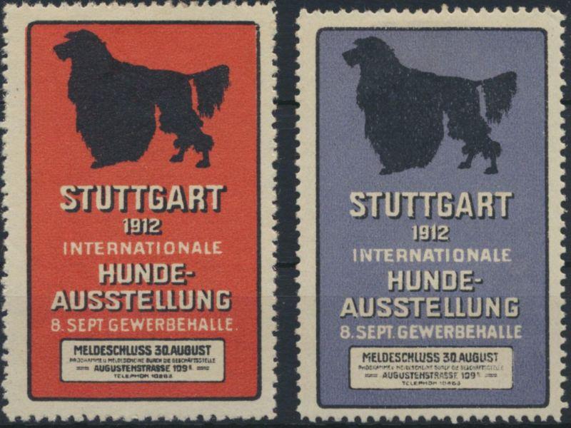 Vignette Reklame Jugendstil Künstler Hunde Ausstellung Stuttgart 1912