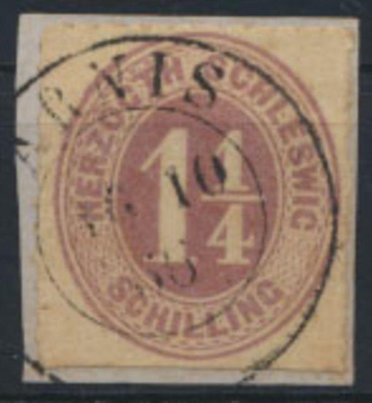 Schleswig Holstein 14 mit K2 Arnis auf Briefstück 16.10.1866