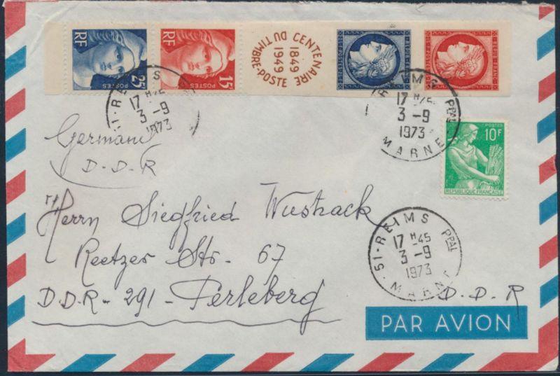 Frankreich Brief MIF 840-843 Fünferstreifen +1227 Reims nach Perleberg 3.9.1973