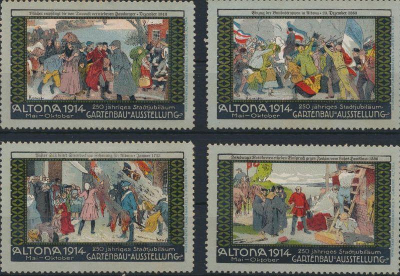 Vignette Reklame Jugendstil Künstler Ausstellung Gartenbau Hamburg Altona 1914