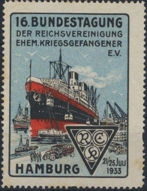 Reklame Vignette Werbung Schifffahrt Bundestagung Kriegsgefangener Hamburg 1933