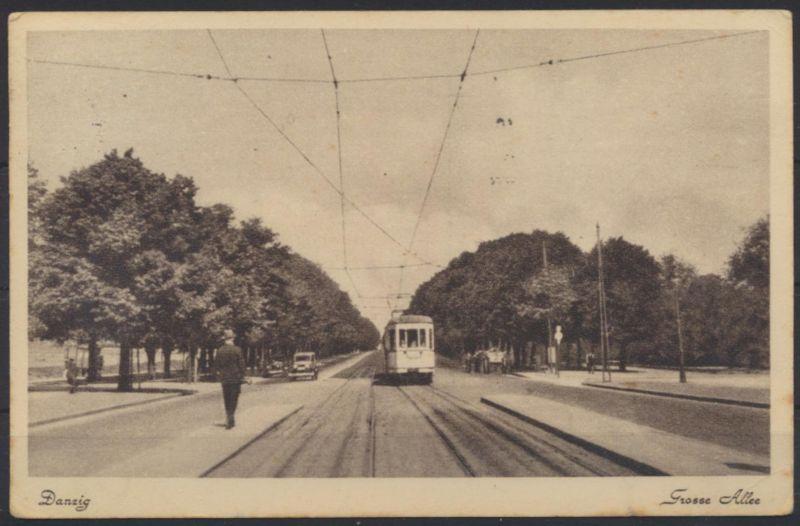 Danzig Ansichtskarte Große Alle Straßenbahn Auto guter Stempel Postscheckkonto