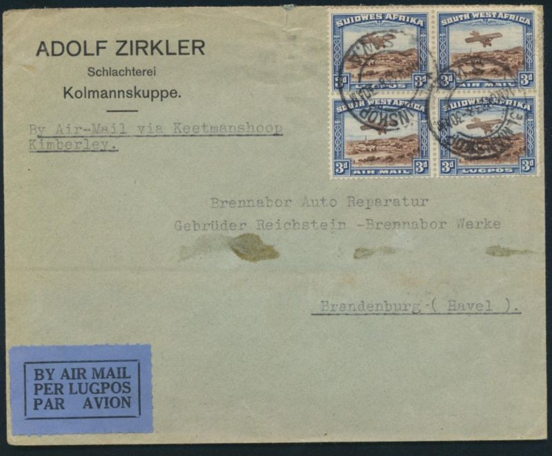 Afrika Namibia 164-165 Flugpostbrief Viererblock Kolmannskop Brandenburg