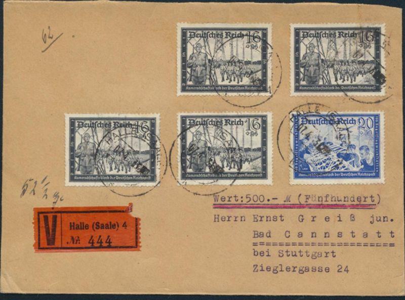 Deutsches Reich Brief Wertbrief MIF 776+777 Halle nach Stuttgart 7.4.1943