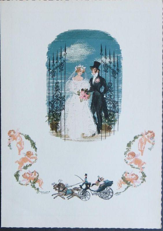 Bund Telegramm Hochzeit Braut Bräutigam Pferdewagen Blumen Engel mehrfarbig 50er