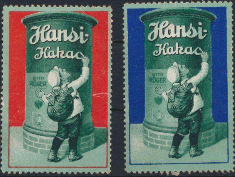 Vignette Reklame Jugendstil Künstler Otto Ruger Hansi Kakao Litfaßsäule 2 Stück