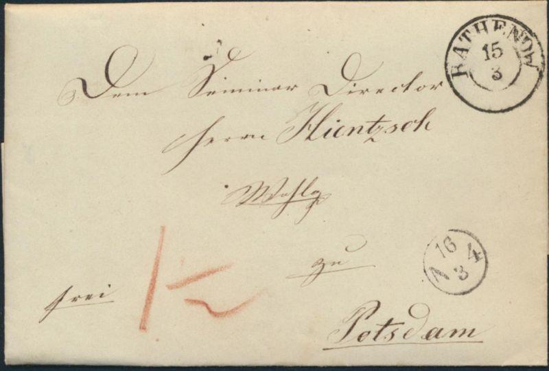 Altdeutschland Preußen Vorphila Brief Rathenow n. Berlin Schule Lehrer 15.3.1847