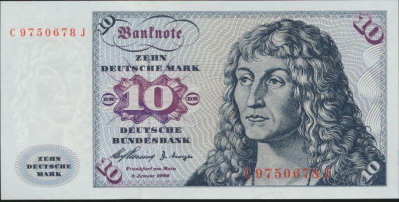 Geldschein Banknote Bund Ro 263 a 10 Deutsche Mark 2.1.1960 unz