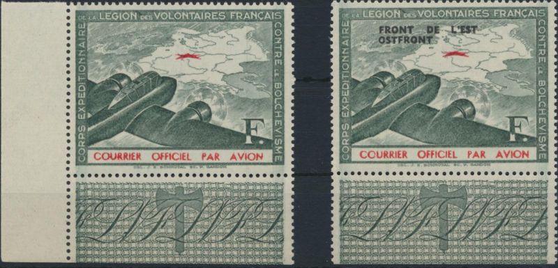 Frankreich Besetzung 2. Weltkrieg Privatausgabe II + IV Eckrand + UR postfrisch