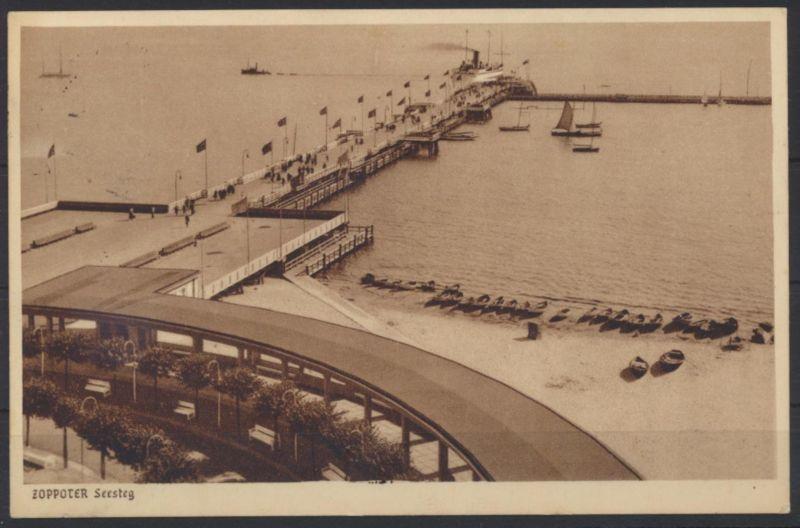 Danzig Ansichtskarte Zoppot 194 mit schönem Maschinenstempel Seebad Nr. 57.2