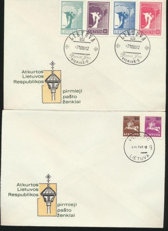 Lietuva Litauen Lot 14 Briefe gezähnte und ungezähnte Marken