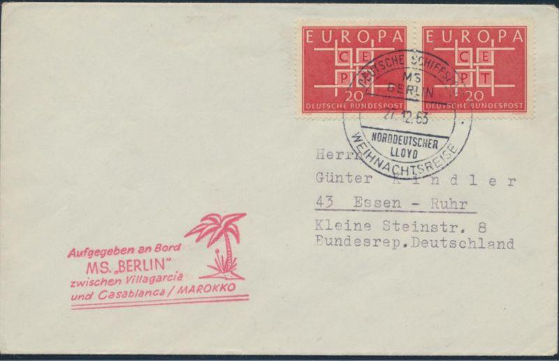 Bund Brief Schiffspost 407 Paar MS Berlin SST Norddeutsche Lloyd Weihnachtsreise