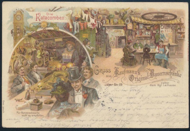 Ansichtskarte Jugendstil Litho beidseitig bedruckt Berlin Restaurant Kaufmanns