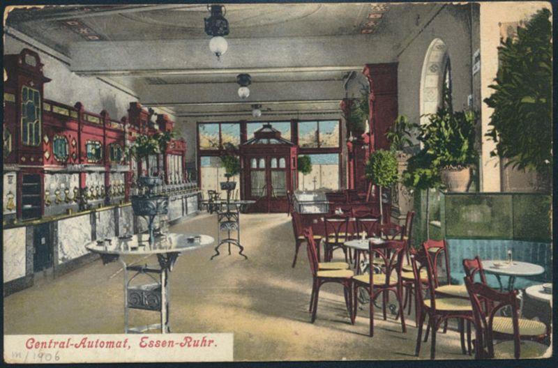 Ansichtskarte Essen Ruhr Restaurant Gaststätte Innenansicht Central Automat 1910