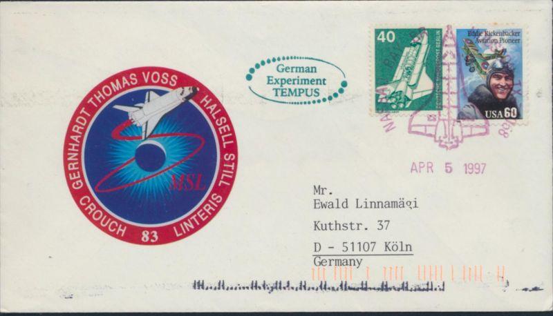 Berlin USA Brief SST Space Shuttle Columbia Mission 83 Nassau Bay Köln Weltraum
