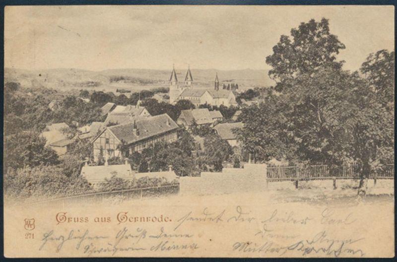 Ansichtskarte Gernrode Bahnpost Frose-Quetlingburg ZUG 931 Grossmühlingen 1898