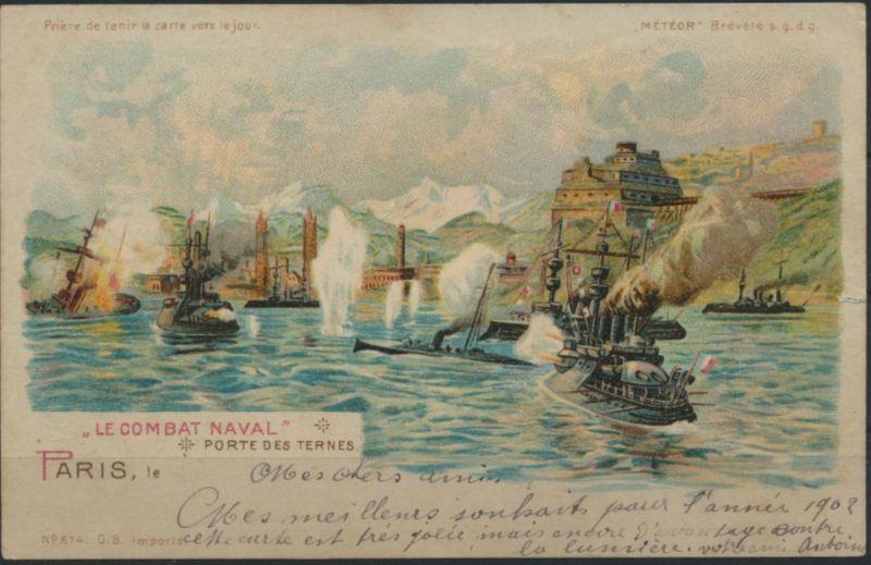 Ansichtskarte Frankreich Seeschlacht Schiffe ParisSTGermain Altenheim Dettweiler