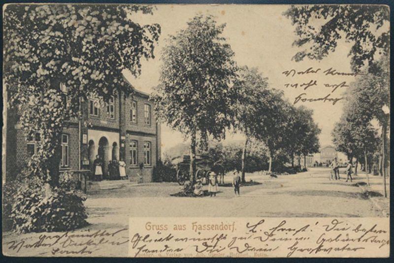 Ansichtskarte Hassendorf Poststelle Hutzfeld nach Reinsbüttel Schleswig Holstein