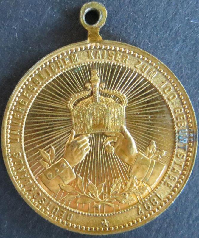 Münze Medaille Deutschland 1897 - Zum 100. Geburtstag Kaiser Wilhelm I.  vz