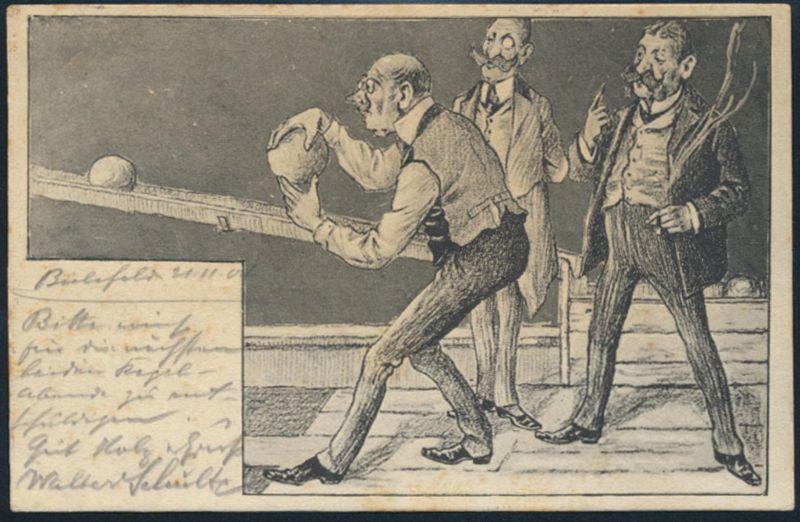 Ansichtskarte Jugendstil Kegeln von Bielefeld nach Gevelsberg 1904 Sport