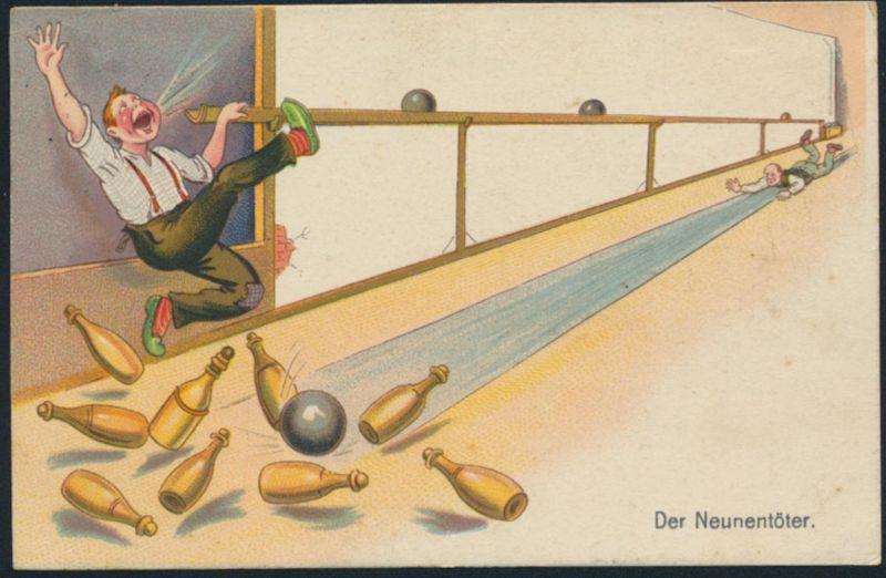 Ansichtskarte Litho Kegeln Der Neuntöter ab Radiumbad Schlesien Gevelsberg 1930