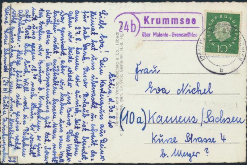 Ansichtskarte Foto Landpost Eutin Krumsee über Malente-Gremsmühlen n Kamenz 1960