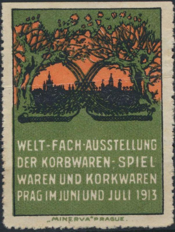 Vignette Reklame Künstler Welt-Fach Ausstellung Spielwaren Korbwaren Prag 1913