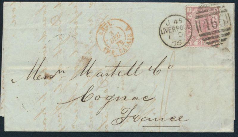 Großbritannien Brief EF 47 Pl. 6 Kabinett mit schönem Duplex-St. J 45 Liverpool