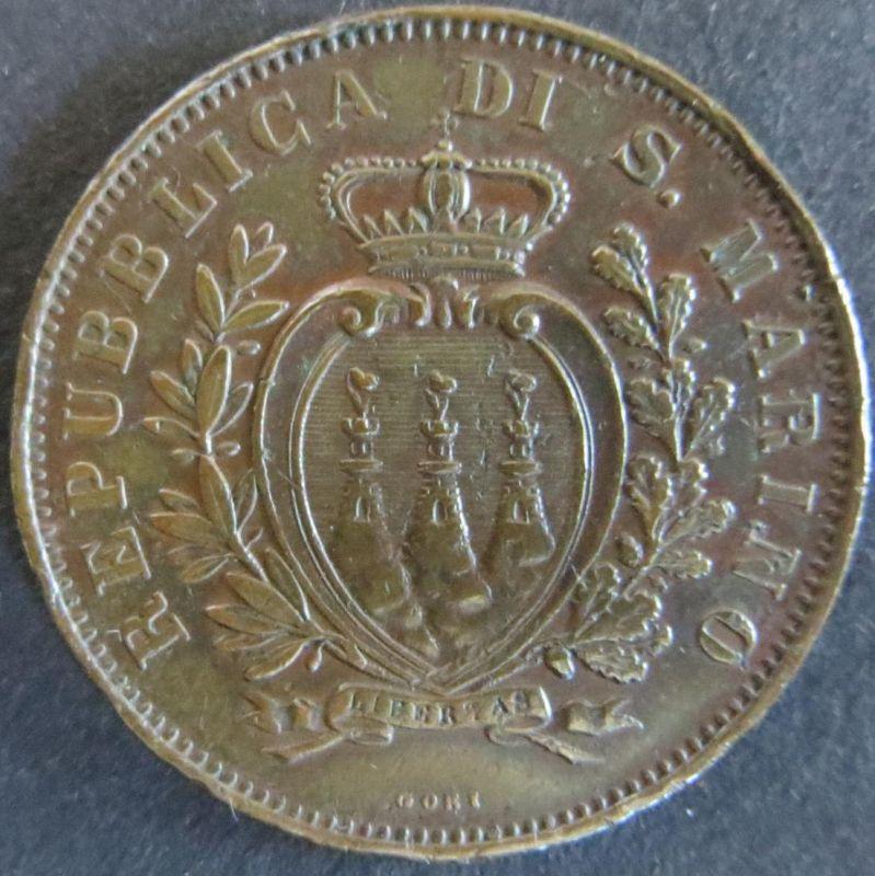 Münze San Marino 1893 R, 10 Centimisi Bronze vz