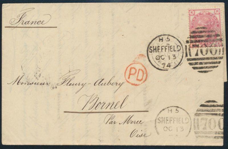 Großbritannien Brief EF 41 Pl. 15 Kabinett mit schönem Duplex-St. H5 Sheffield