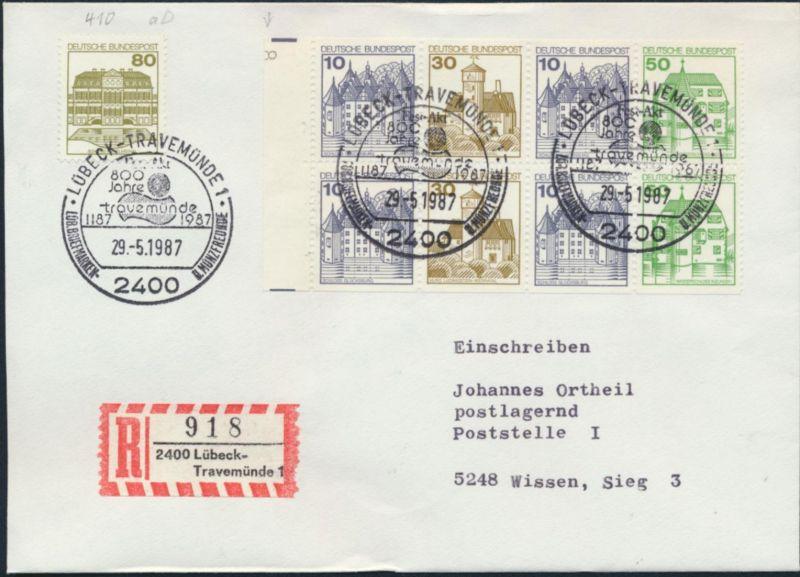 Bund Brief Einschreiben MIF H-Blatt 27 + 1140 SST Lübeck nach Wissen Philatelie