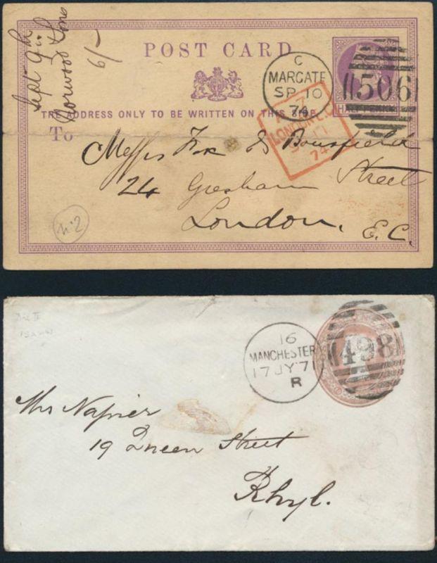 Großbritannien zwei Ganzsachen Queen Victoria 1x ab Marcate roter R4 A7 London