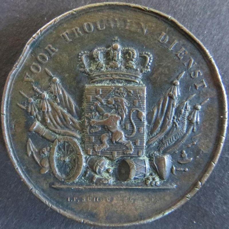 Medaille Niederlande ca. 1900  Voor trouwen dienst Bronzemedaille