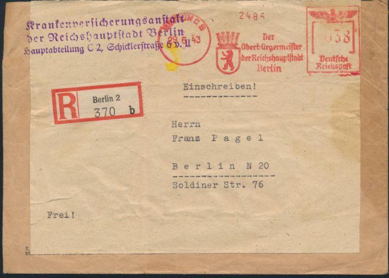 Deutsches Reich R - Brief Absenderfreistempel AFS 038 Oberbürgermeister Berlin