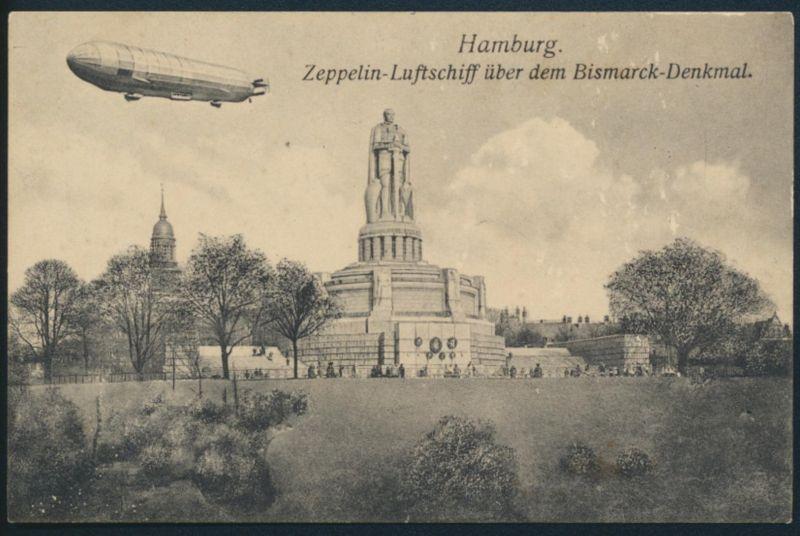Ansichtskarte Zeppelin über Bismarck Denkmal Hamburg ungelaufen