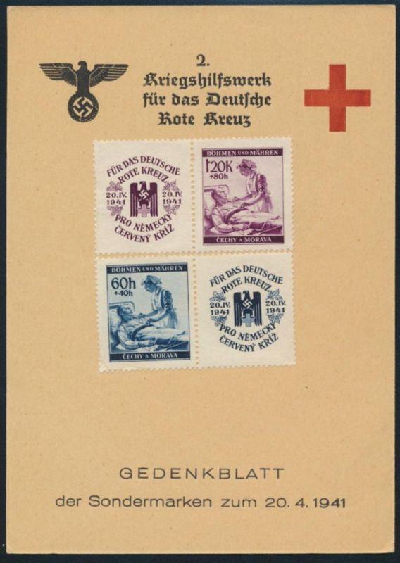 Böhmen & Mähren Sonderkarte Gedenkblatt Kriegshilfswerk Rotes Kreuz 1941