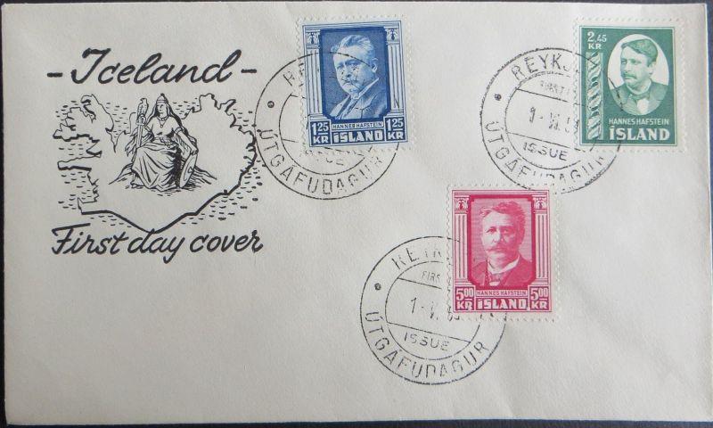 Island Brief 293-295 Hannes Hafstein Dichter Politiker Premierminister FDC 1954