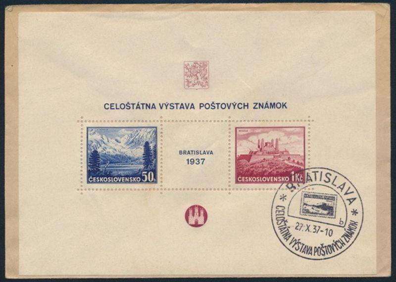 Tschechoslowakei Block 1 auf Brief Briefmarken Ausstellung nach Zürich Schweiz