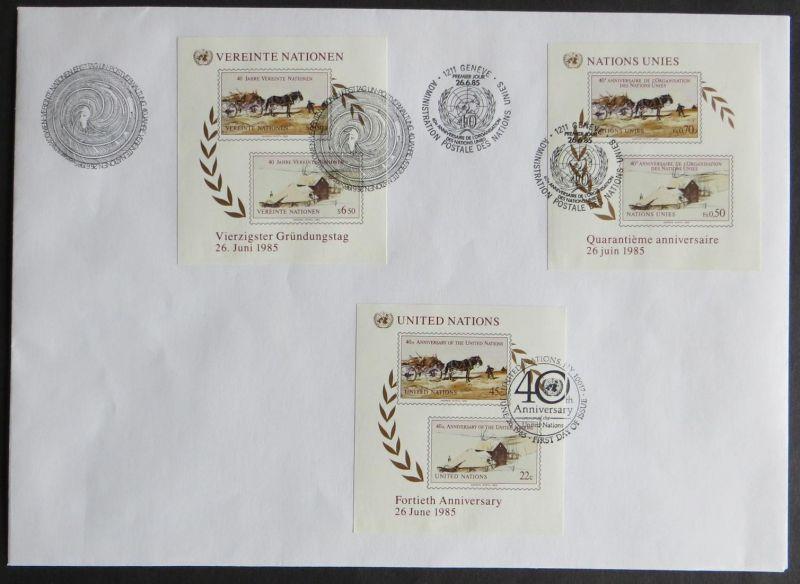 Vereinte Nationen UNO Brief Ersttag Genf Wien New York SST 40 Jahre Jubiläum