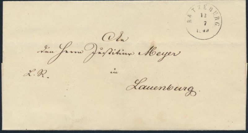 Schleswig Holstein Vorphila Brief mit K2 Ratzeburg nach Lauenburg 12.7.1849 rs.