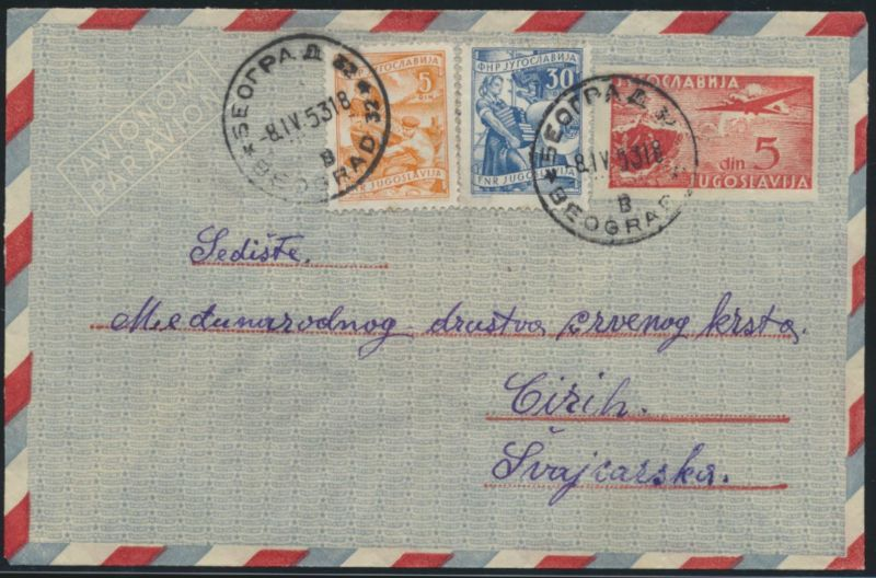 Jugoslawien Belgrad Flugpost Ganzsache ZuF Jugoslavia air mail postal stationery