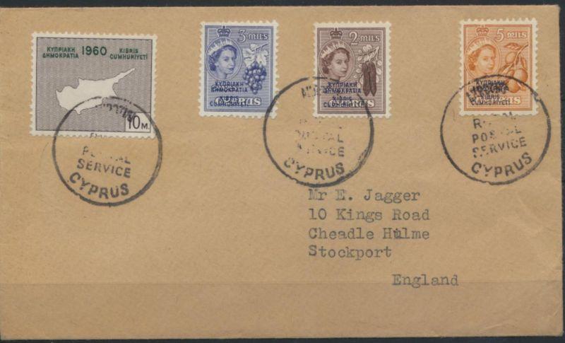 Zypern Brief Aufdruck British militäry Zone Limassol Stockport Großbritannien