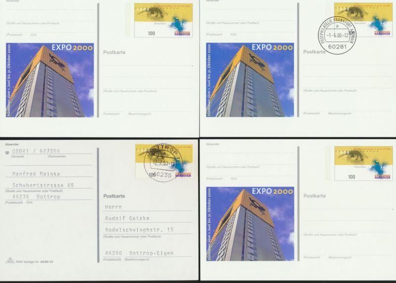 Bund Expo 2000 Hannover 3 Ganzsachen und 2 frankierte Karten