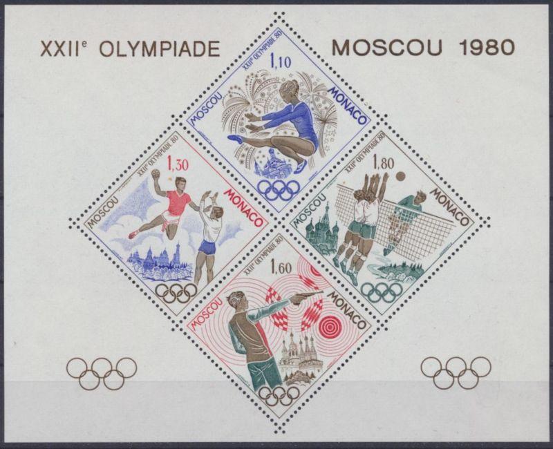 Monaco 1415-1418 Sonderdruck Kleinbogen Olympia Sport Moskau Moscou Kat. 220,00