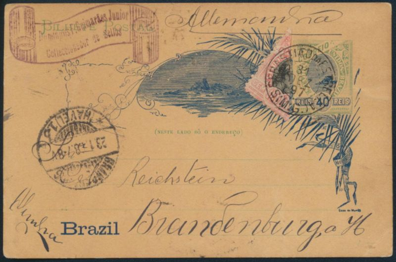 Brasilien Ganzsache P 22 a u. Halbierung postal stationery with half used as 50