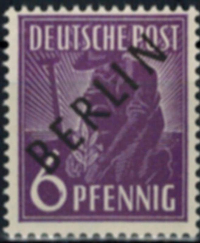 Berlin Mi. 2x Schwarzaufdruck 6 Pfg. dickes Papier tiefst geprüft Schlegel