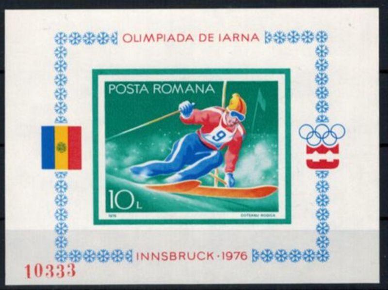 Rumänien Olympia Sport  Block Olympische Winterspiele Innsbruck postfrisch 1976