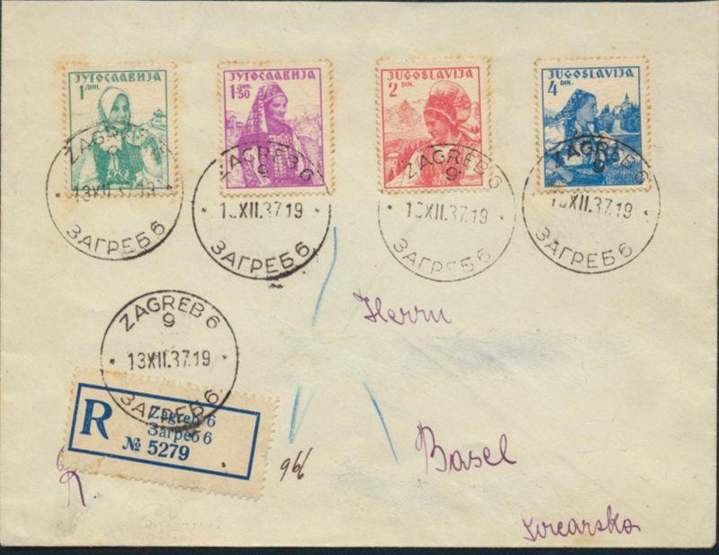 Jugoslawien R-Brief MIF Blockeinzelmarken 336-339 Zagreb nach Basel