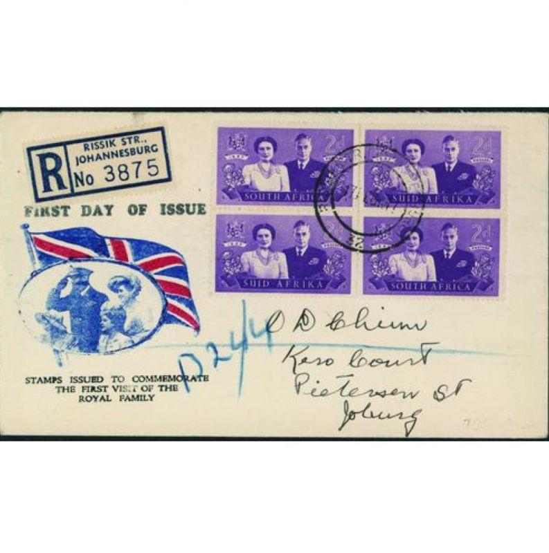 Südafrika 1947 R-FDC mit doppeltem Paar 2d Krönungsfamilie